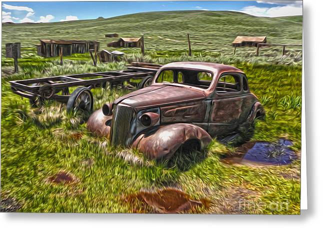 Gregory Dyer Greeting Cards - Bodie Ghost Town - Rusted Old Car 01 Greeting Card by Gregory Dyer