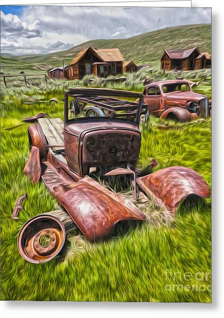 Gregory Dyer Greeting Cards - Bodie Ghost Town - Rusted Old Car 03 Greeting Card by Gregory Dyer