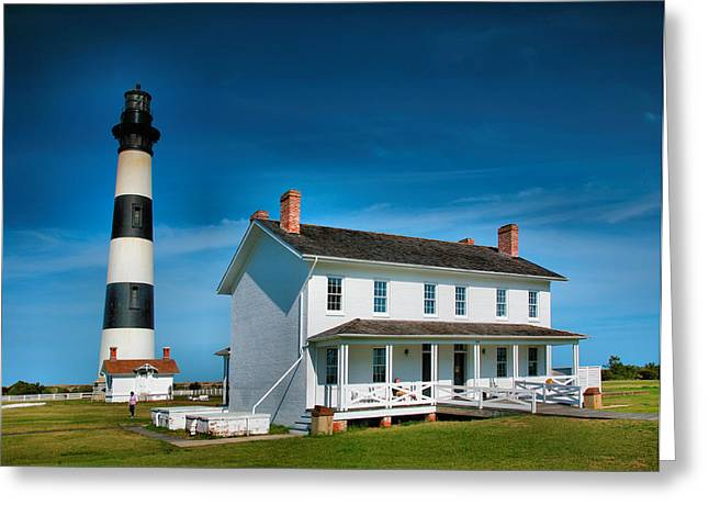 Bodie Island Lighthouse And Keepers Quarters Greeting Card by Steven Ainsworth