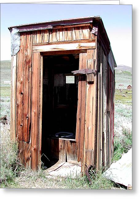 """oldest Wood Building"" Greeting Cards - Bodie Outhouse 2 Greeting Card by Lydia Warner Miller"