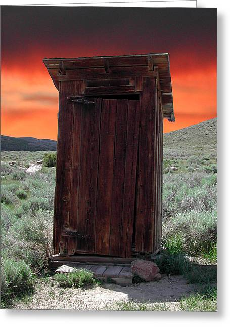 """oldest Wood Building"" Greeting Cards - Bodie Outhouse Greeting Card by Lydia Warner Miller"