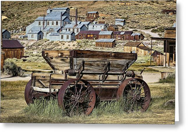 Wooden Wagons Greeting Cards - Bodie Wagon Greeting Card by Kelley King