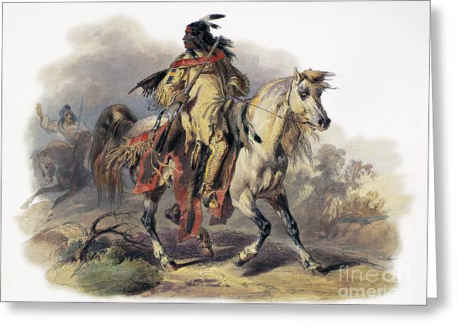 1833 Greeting Cards - Bodmer: Blackfoot Horseman Greeting Card by Granger