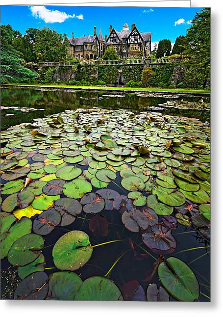 Water Garden Greeting Cards - Bodnant House Greeting Card by Meirion Matthias