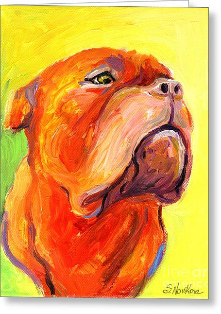 Custom Portraits Greeting Cards - Bodreaux Mastiff dog painting Greeting Card by Svetlana Novikova