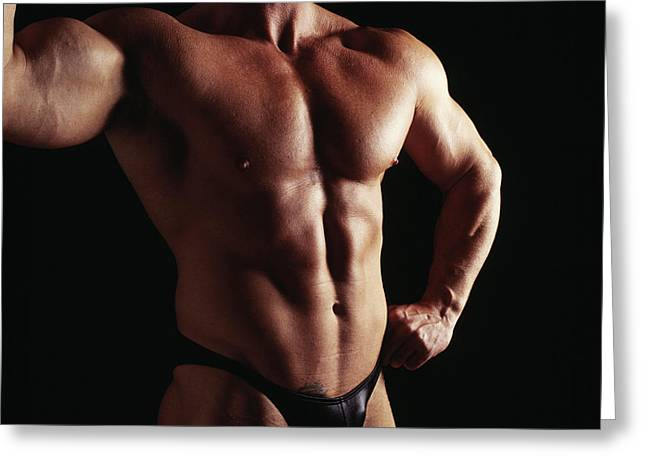 Body Builder Greeting Card by Tony Mcconnell