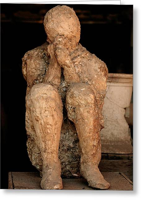 Ancient Ruins Greeting Cards - Body Cast, Pompeii Greeting Card by
