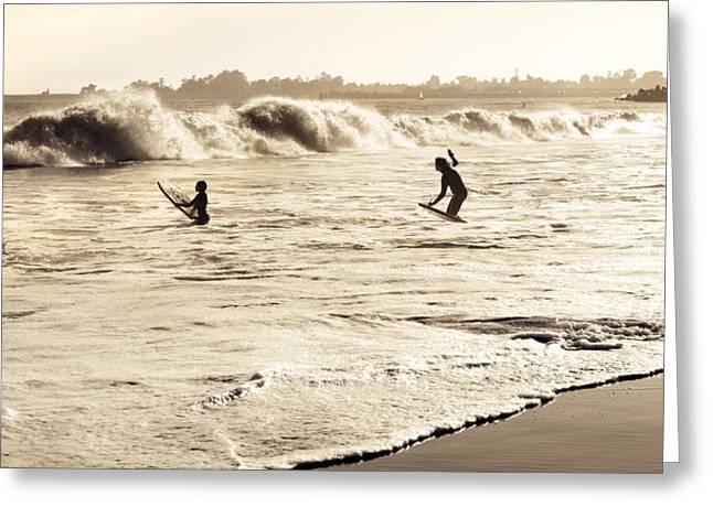 Santa Cruz Pier Greeting Cards - Body Surfing Family Greeting Card by Marilyn Hunt