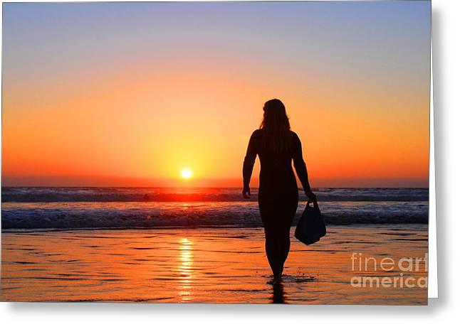 Bodysurfer At Dusk Greeting Card by Sabino Cruz