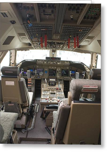 747 Greeting Cards - Boeing 747-8 Flight Deck Greeting Card by Mark Williamson