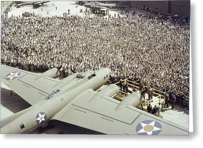 Aerospace Industry Greeting Cards - Boeing Workers Gather To Hear A Pilot Greeting Card by J. Baylor Roberts