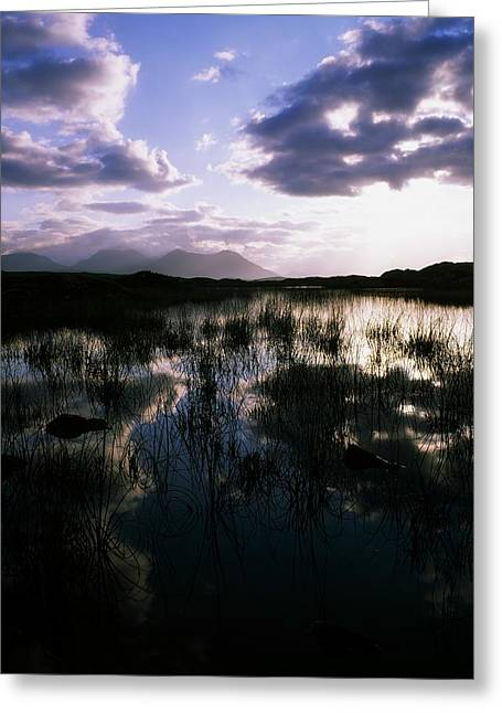 Bog Lake & Twelve Bens, Near Clifden,co Greeting Card by The Irish Image Collection