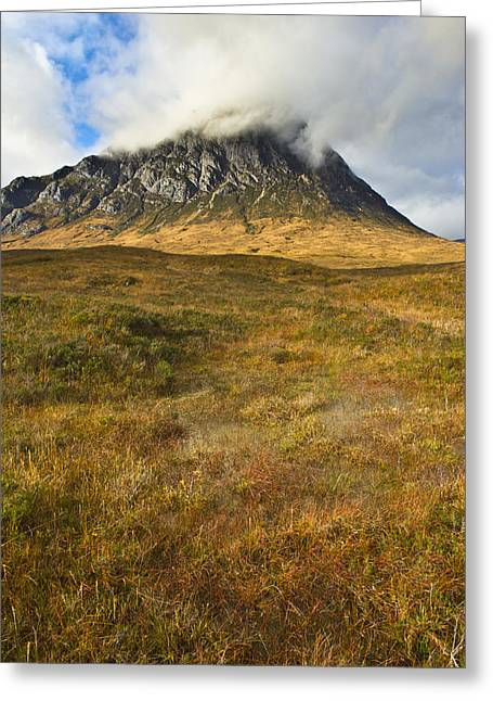 Buachaille Etive Mor Greeting Cards - Boggy ground below the Buckle Greeting Card by Gary Eason
