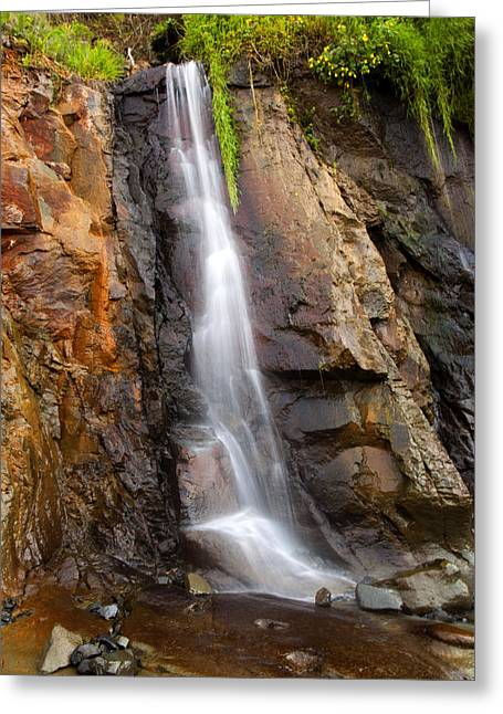 Boiler Greeting Cards - Boiler Bay Cascade Greeting Card by Mike  Dawson