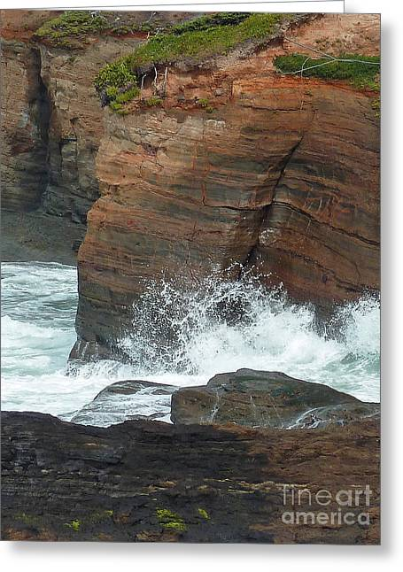 Ocean Art Photos Digital Art Greeting Cards - Boiler Bay Waves Greeting Card by Methune Hively