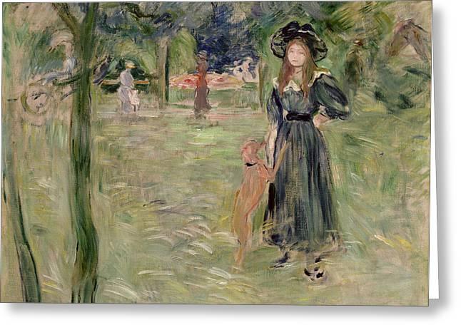 Dog Park Greeting Cards - Bois de Boulogne Greeting Card by Berthe Morisot