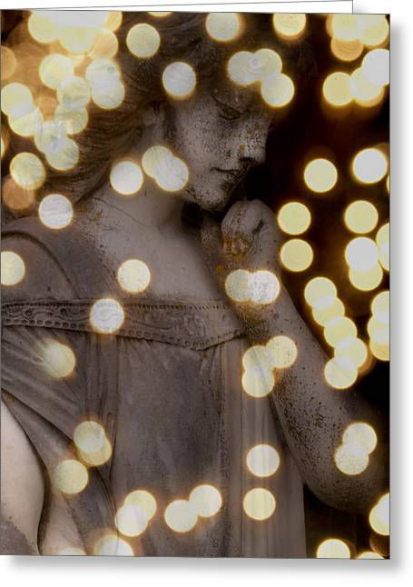 Bokeh Angel Greeting Card by Sonja Quintero