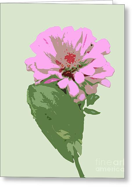 Bold Pink Flower Greeting Card by Karen Nicholson