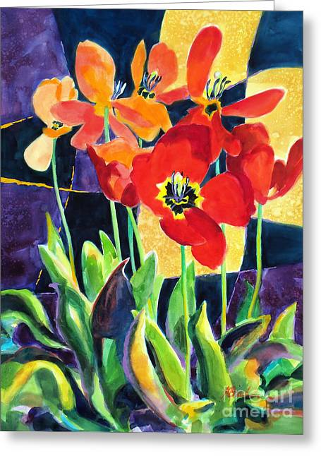 Colorful Quilts Greeting Cards - Bold Quilted Tulips Greeting Card by Kathy Braud
