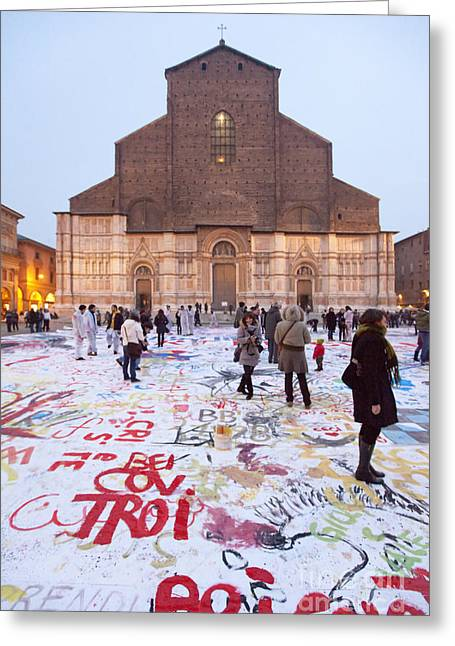 Medieval Clock Greeting Cards - Bologna Cathedral Greeting Card by Andre Goncalves