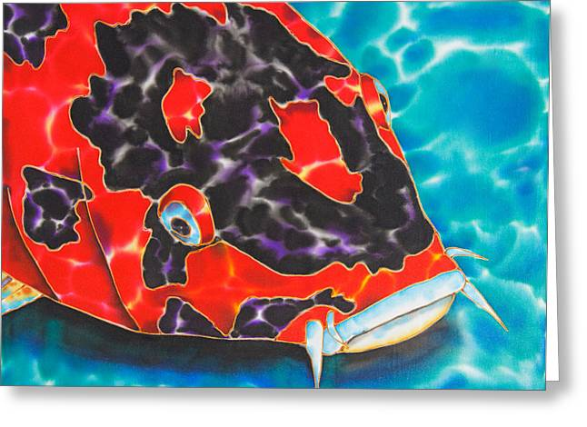 Pond Tapestries - Textiles Greeting Cards - Bolt Koi Greeting Card by Daniel Jean-Baptiste