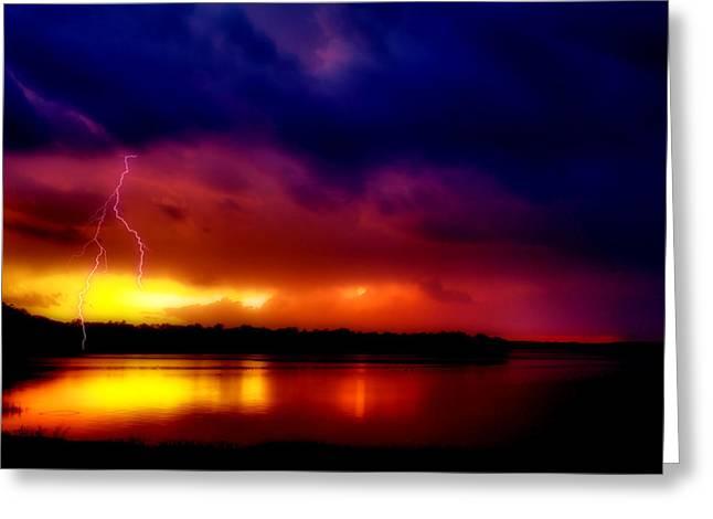 Thunderstorm Digital Art Greeting Cards - Bolt of Lightning  Greeting Card by Karen M Scovill