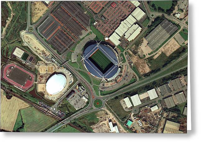 Reebok Greeting Cards - Bolton Wanderers Reebok Stadium, Aerial Greeting Card by Getmapping Plc
