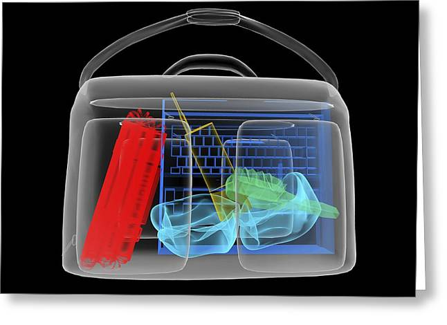Terrorist Greeting Cards - Bomb Inside Briefcase, Simulated X-ray Greeting Card by Christian Darkin