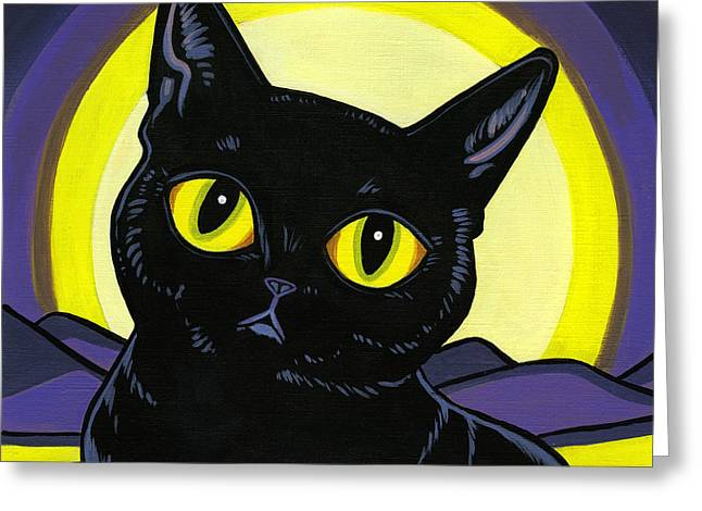 Cat Breeds Portraits Greeting Cards - Bombay Moon Greeting Card by Leanne Wilkes