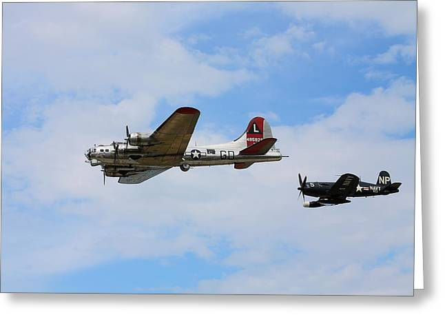 Kevin Schrader Greeting Cards - Bomber Escort Greeting Card by Kevin Schrader
