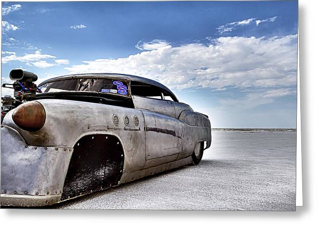 Salt Flat Images Greeting Cards - Bombshell Buick Bonneville 2012 Greeting Card by Holly Martin