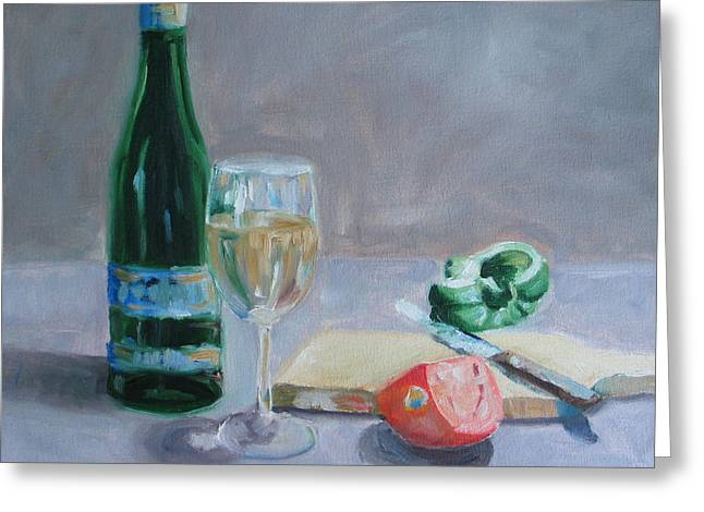 Glass Of Wine Paintings Greeting Cards - Bon Appetite Greeting Card by Paul Walsh