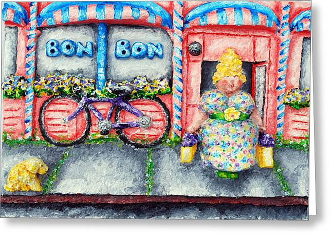 Transportation Reliefs Greeting Cards - Bon Bon Betty Greeting Card by Alison  Galvan
