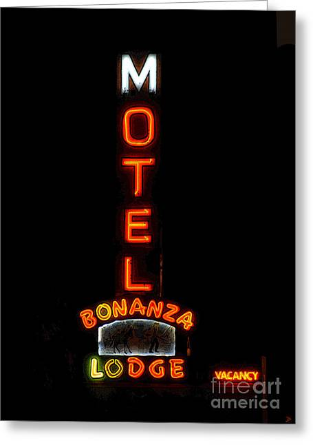 Las Vegas Art Greeting Cards - Bonanza Lodge Motel Greeting Card by David Lee Thompson