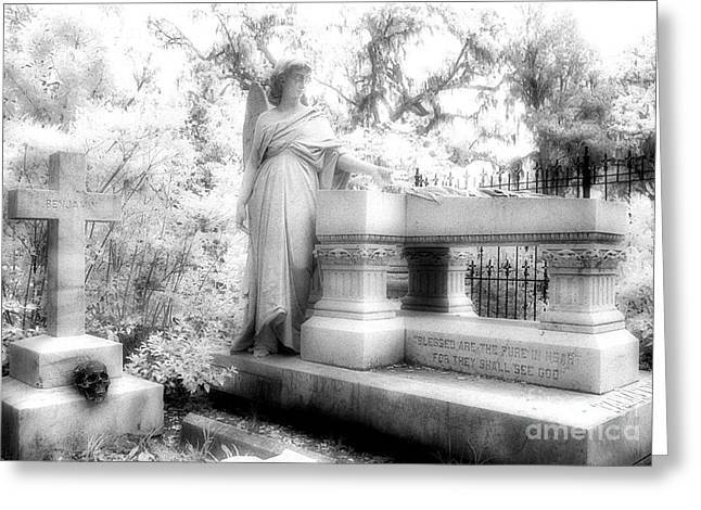 Savannah Infrared Photography Greeting Cards - Bonaventure Angel Greeting Card by Jeff Holbrook