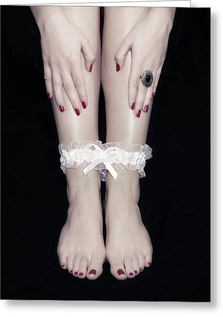 Red Nail Polish Greeting Cards - Bonded Legs Greeting Card by Joana Kruse