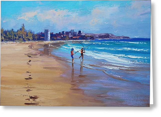 Central Coast Greeting Cards - Bondi Beach Fishing Greeting Card by Graham Gercken