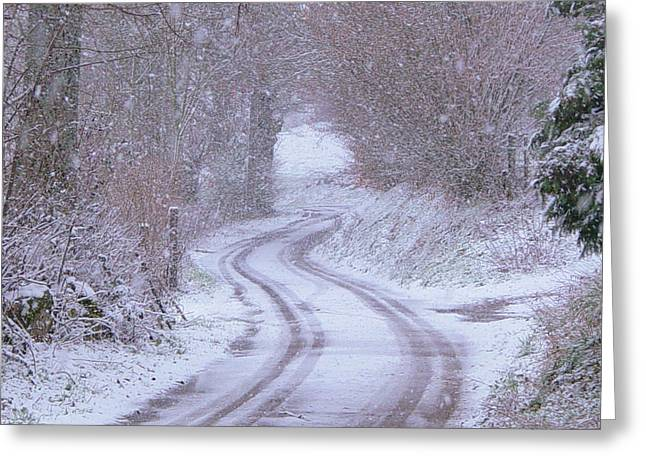 Snowy Roads Greeting Cards - Bonjean in the snow Greeting Card by Nomad Art And  Design