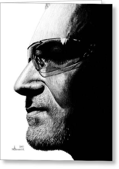 Bono - Half The Man Greeting Card by Kayleigh Semeniuk