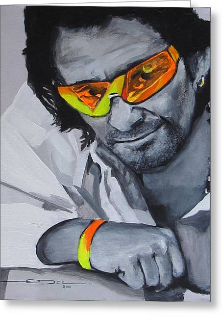 U2 Greeting Cards - Bono  U2 2 U Greeting Card by Eric Dee