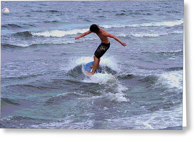Surfing Photos Digital Art Greeting Cards - Boogie Board Surfer Boy Greeting Card by Margie Avellino