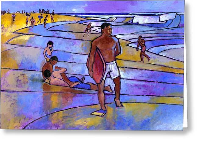 Boarding Greeting Cards - Boogieboarding at Sandys Greeting Card by Douglas Simonson