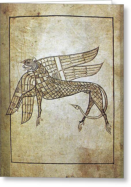 7th Century Greeting Cards - BOOK OF DURROW, c680 A.D Greeting Card by Granger