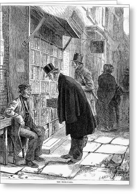 1874 Greeting Cards - Book Stall, 1874 Greeting Card by Granger