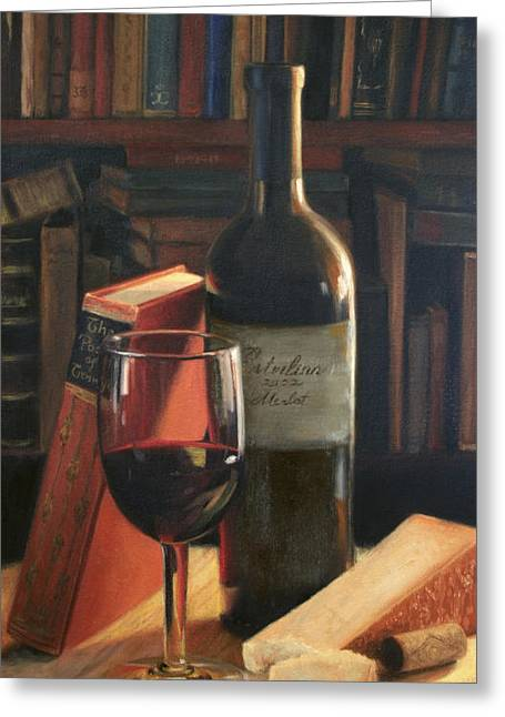 Red Wine Bottle Greeting Cards - Booked for the Evening Greeting Card by Anna Bain