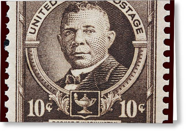 Booker T. Washington Greeting Cards - Booker T Washington postage stamp Greeting Card by James Hill