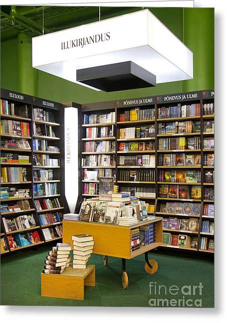 Bookcase Greeting Cards - Bookstore Section Greeting Card by Jaak Nilson