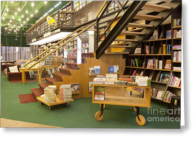 Bookcase Greeting Cards - Bookstore Stairs Greeting Card by Jaak Nilson
