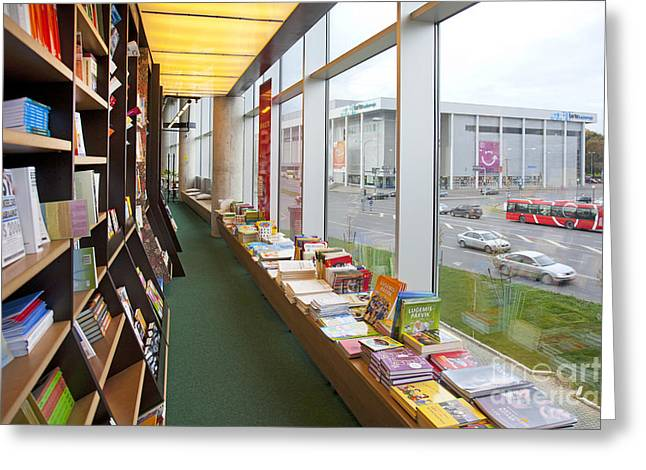 Bookcase Greeting Cards - Bookstore Windows Greeting Card by Jaak Nilson