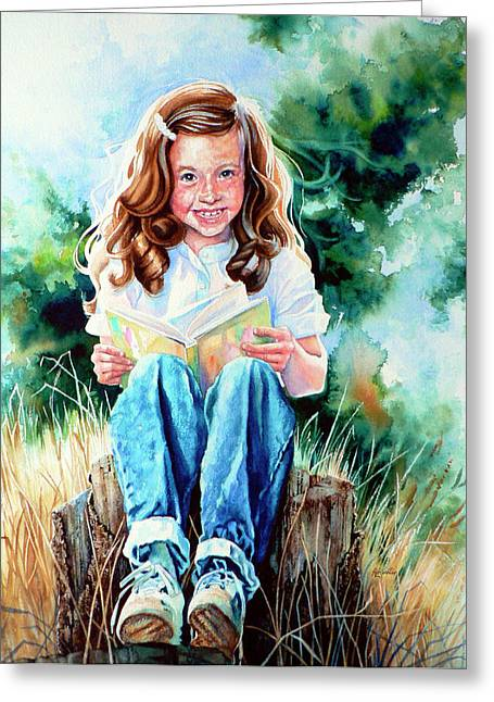 Children Portrait Print Greeting Cards - Bookworm Greeting Card by Hanne Lore Koehler